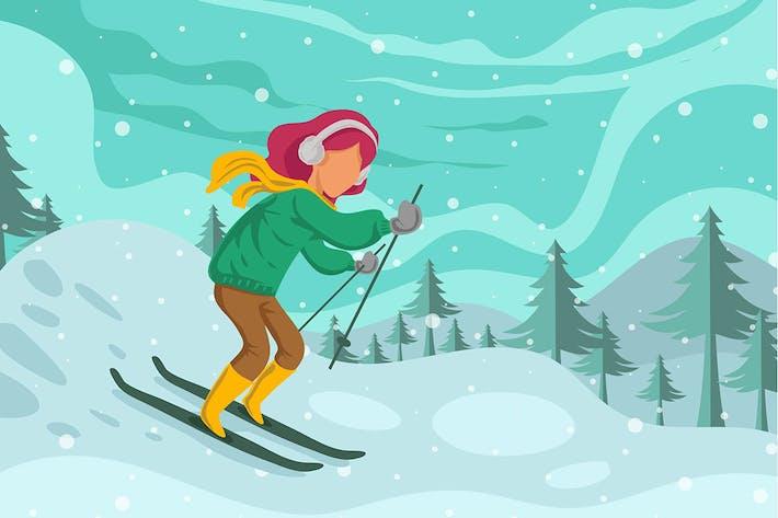 Thumbnail for Winter Skiing Women - Illustration