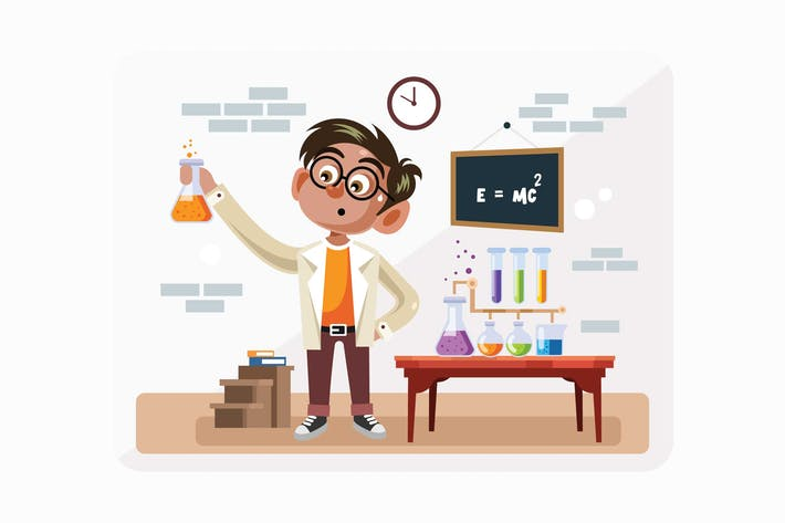 Thumbnail for Student in Science Class Vector Illustration