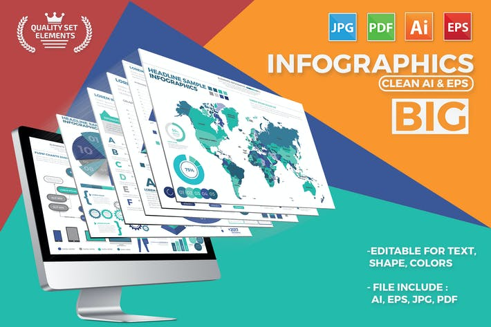 Thumbnail for Big Set Infographics Elements Design