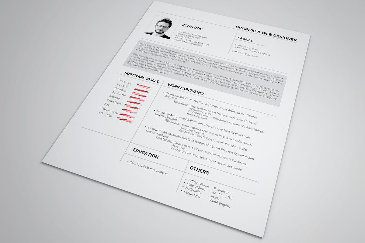 Modern Cv / Resume by Nody4Design on Envato Elements
