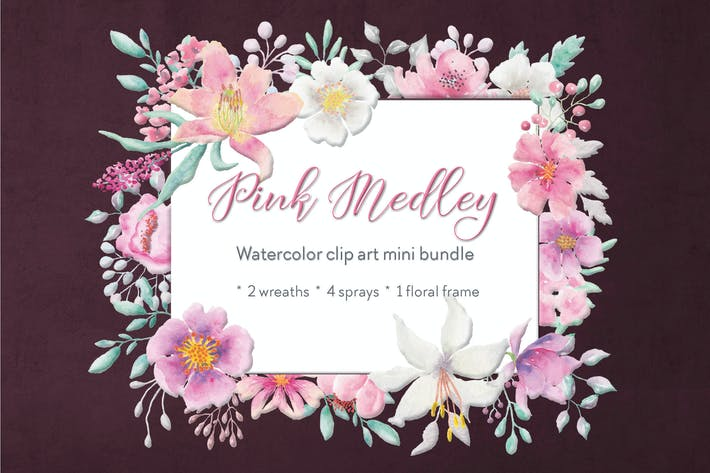 Thumbnail for Pink Medley Watercolor Mini Bundle