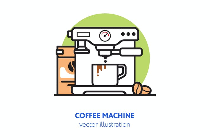 Thumbnail for Coffee machine vector illustration