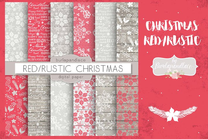 Thumbnail for Christmas red rustic digital paper pack