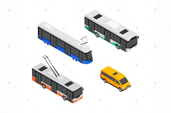Thumbnail for Public transport vehicles - isometric elements