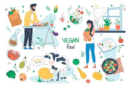 Vegane Lebensmittel Set Einzelelemente