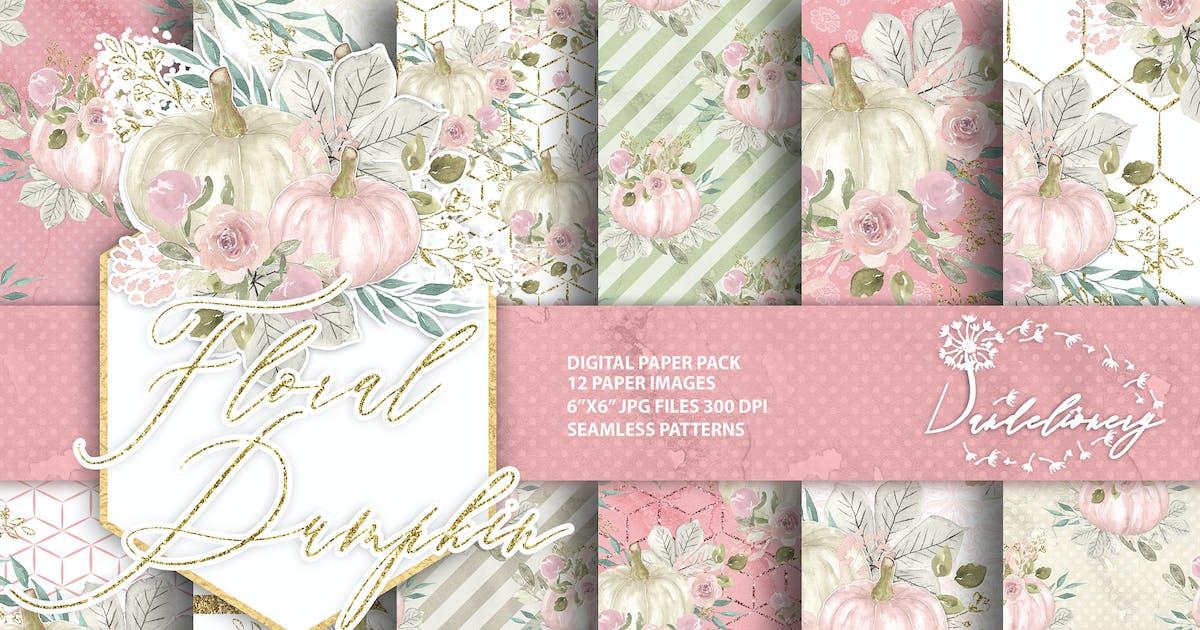 Download Floral pumpkin digital paper pack by designloverstudio