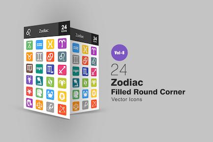24 Zodiac Filled Round Corner Icons