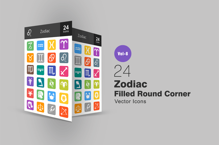 Thumbnail for 24 Zodiac Filled Round Corner Icons