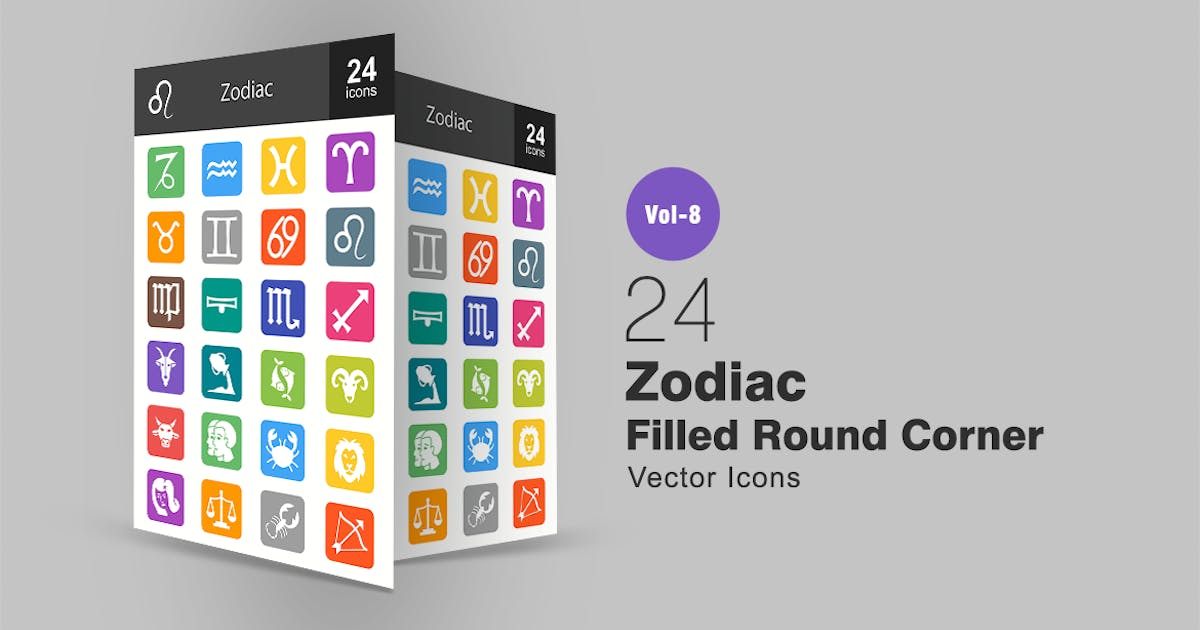Download 24 Zodiac Filled Round Corner Icons by Unknow