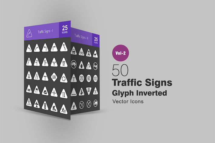 50 Traffic Signs Glyph Inverted Icons