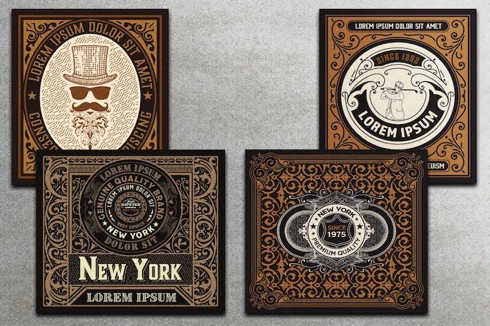 Set von 4 Vintage-Etiketten