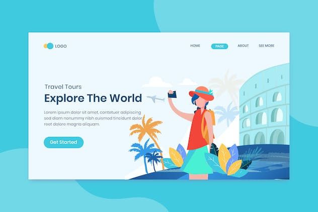 Explore the world travelling landing page template