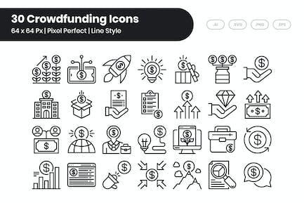 30 Crowdfunding Icons Set - Line