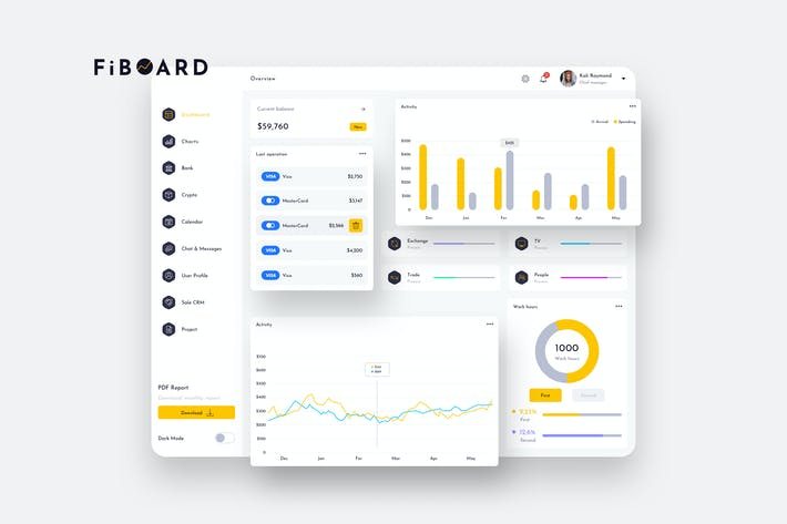 Thumbnail for FiBOARD Finance Dashboard Ui Light - P