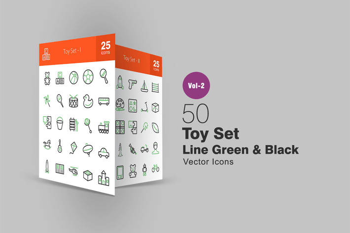 Thumbnail for 50 Toy Set Line Green & Black Icons