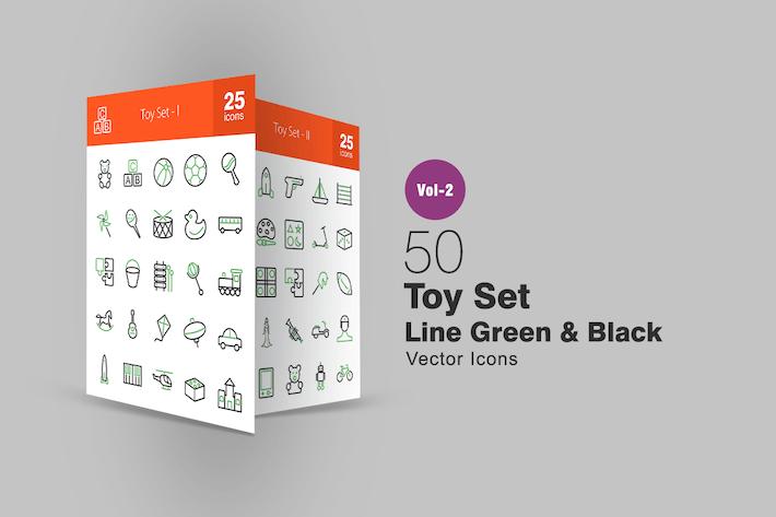 Thumbnail for 50 Spielzeug-Set Linie Grün & Schwarz Icons