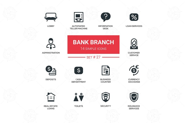 Thumbnail for Bank branch - modern vector icons, pictograms set