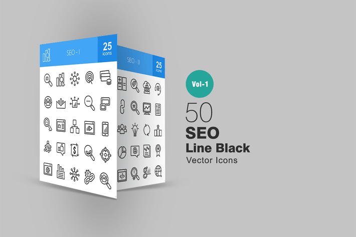 Thumbnail for 50 SEO Line Icons