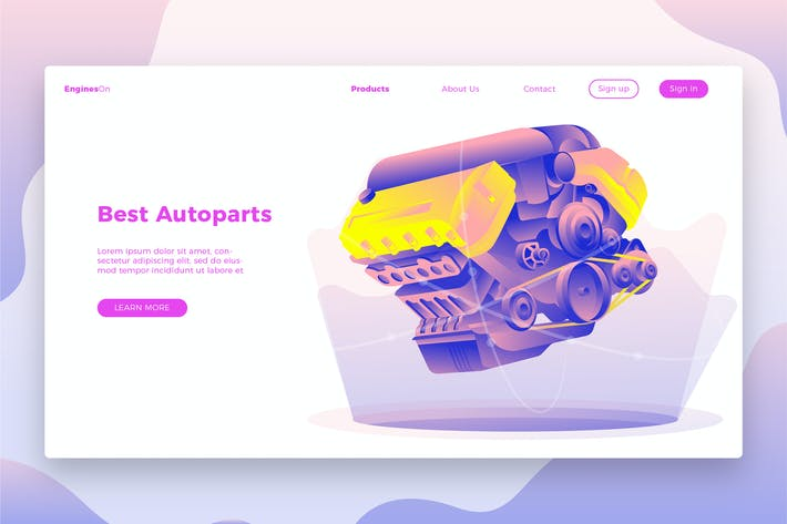 Thumbnail for Autoparts Engine-Banner & Landing Page
