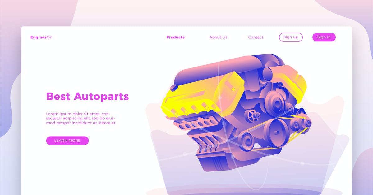 Download Autoparts Engine-Banner & Landing Page by aqrstudio