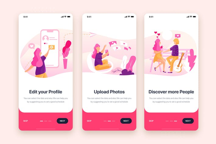 Thumbnail for On boarding for Social Dating Mobile App