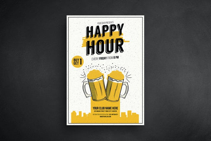 happy hour beer promotion flyer by guuver on envato elements