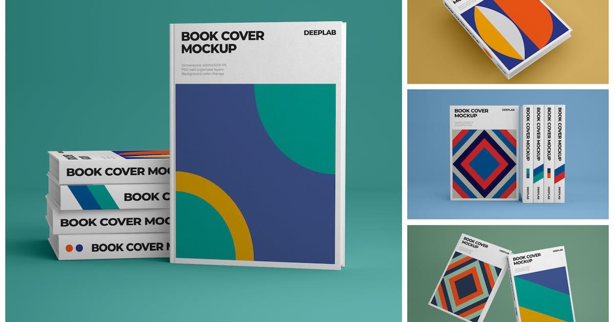 Download Vertical Book Hardcover Mockup Set by deeplabstudio