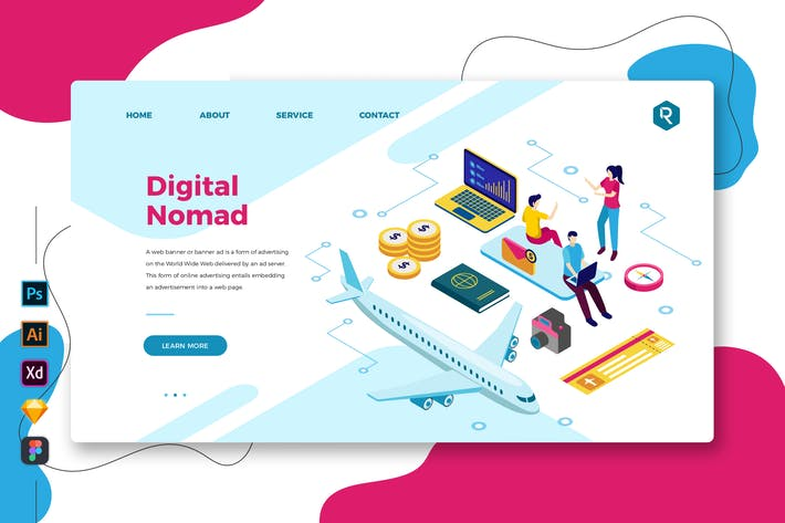 Thumbnail for Digital Nomad - Web & Mobile Landing Page