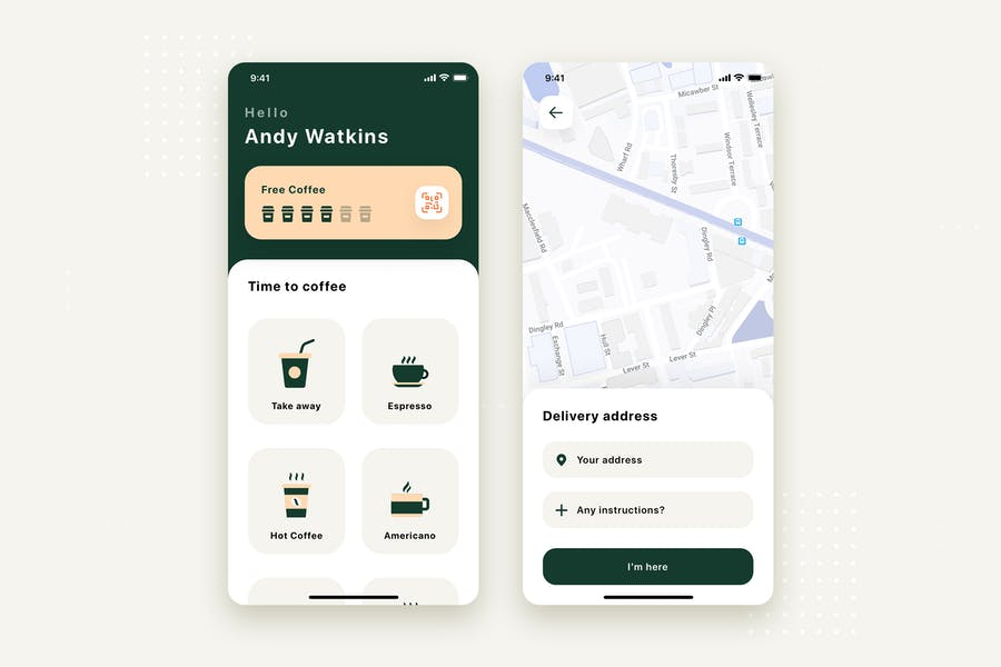 Coffee Delivery Mobile App UI Kit Template