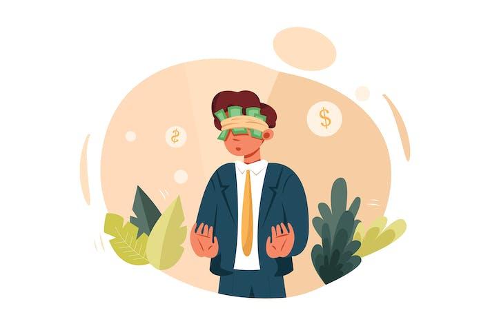 Thumbnail for Бизнесмен прячет глаза за деньгами