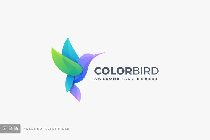 Bird Colorful Gradient Logo Template
