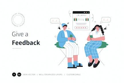 Dar una Ilustración de comercio electrónico de comentarios