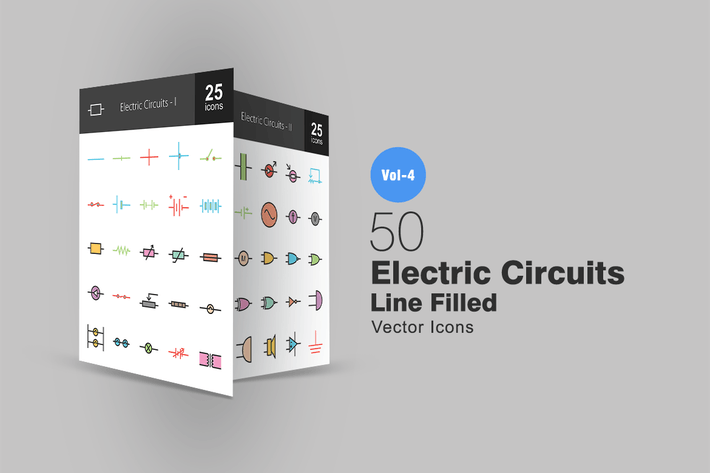 Thumbnail for 50 электрических цепей линии заполненные Иконки