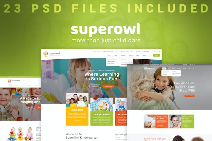 Thumbnail for SuperOwl - Kindergarten PSD Template