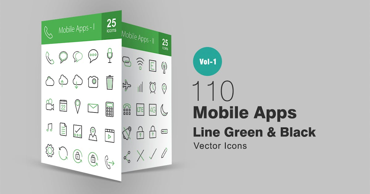 Download 110 Mobile Apps Line Green & Black Icons by IconBunny