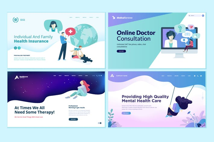 Cover Image For Set of Medical Web Page Design Templates