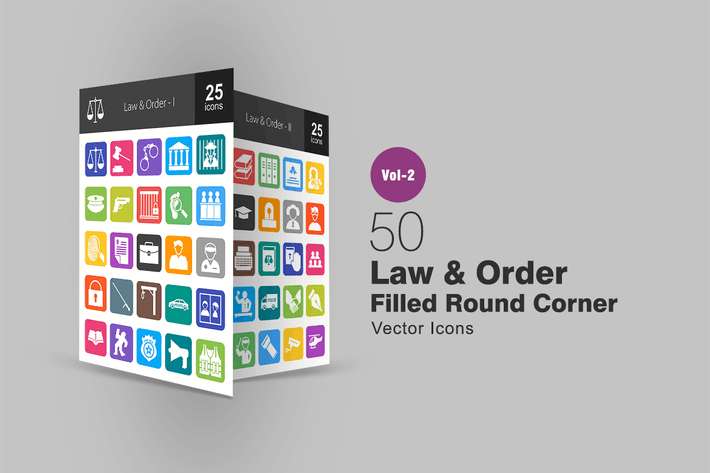 Thumbnail for 50 Law & Order Filled Round Corner Icons