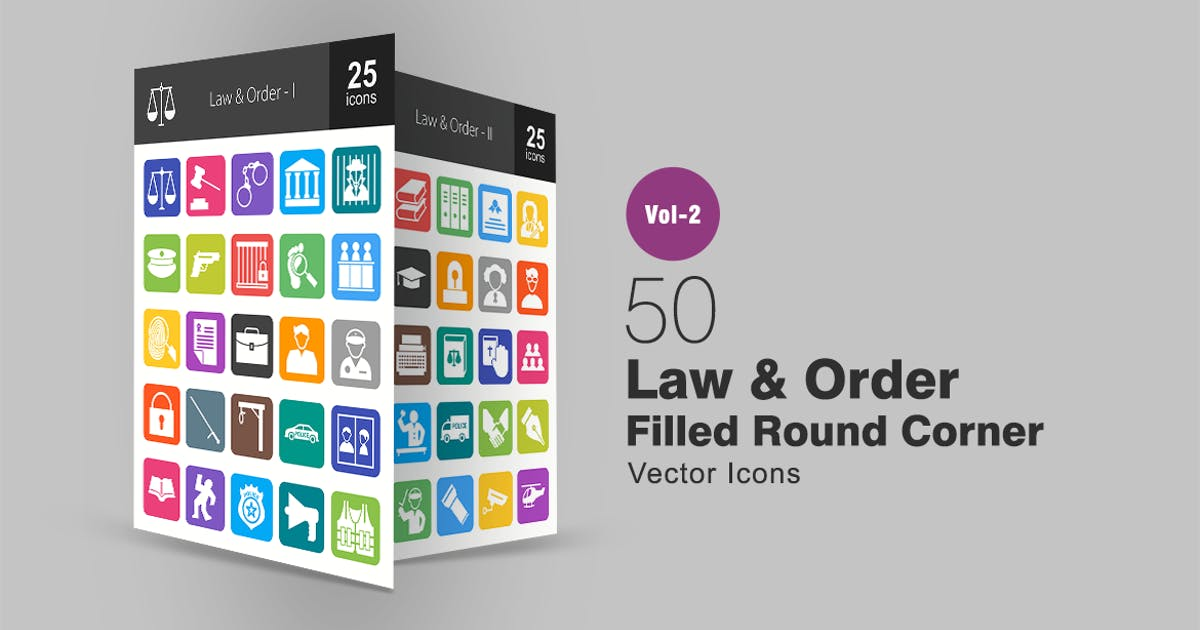 Download 50 Law & Order Filled Round Corner Icons by IconBunny