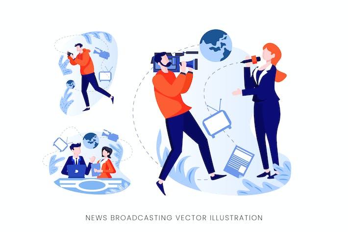Thumbnail for News Broadcasting Vector Character Set
