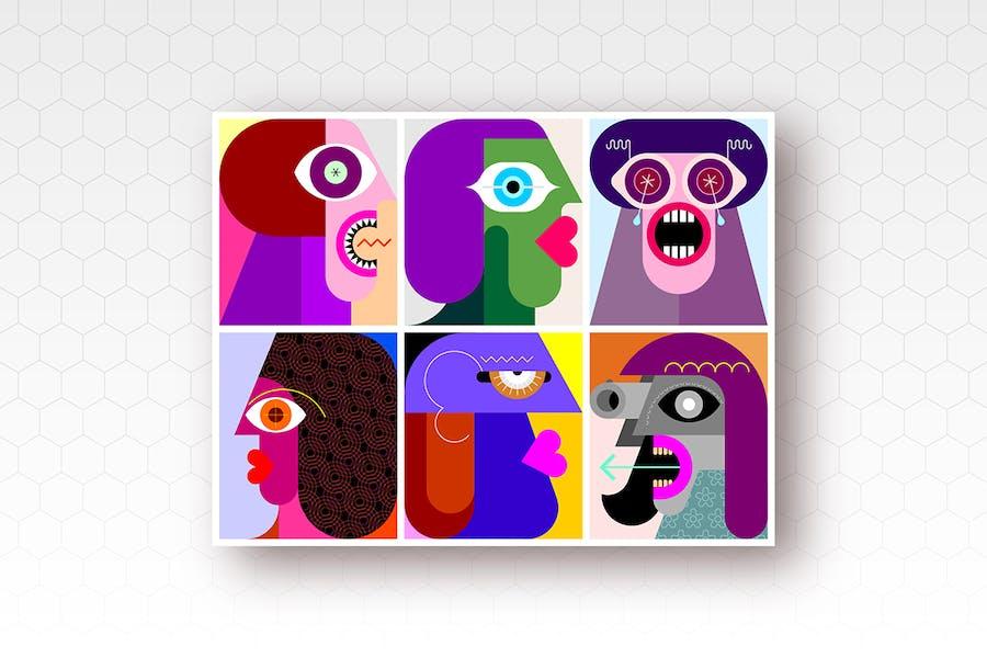Шесть людей портреты вектор иллюстрация
