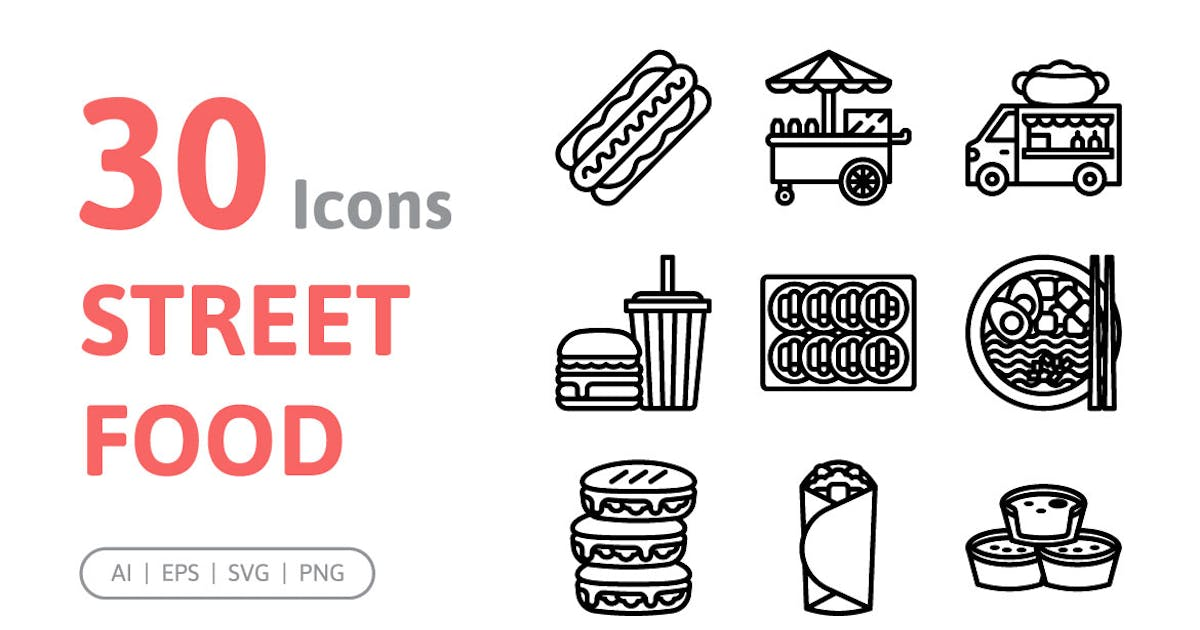 Download 30 Street Food Icons by konkapp