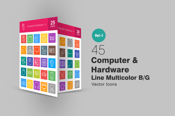 Thumbnail for 45 Computer Line Multicolor Icons