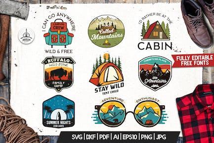 Camping Adventure Badges, Retro Travel Logos Set