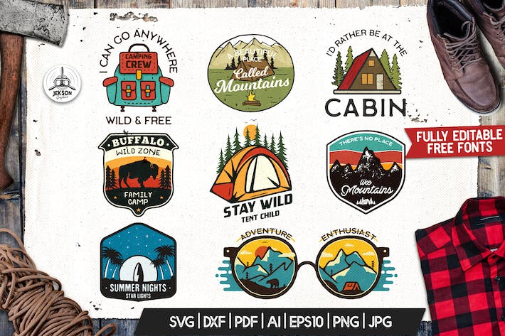 Thumbnail for Camping Adventure Badges, Retro Travel Logos Set