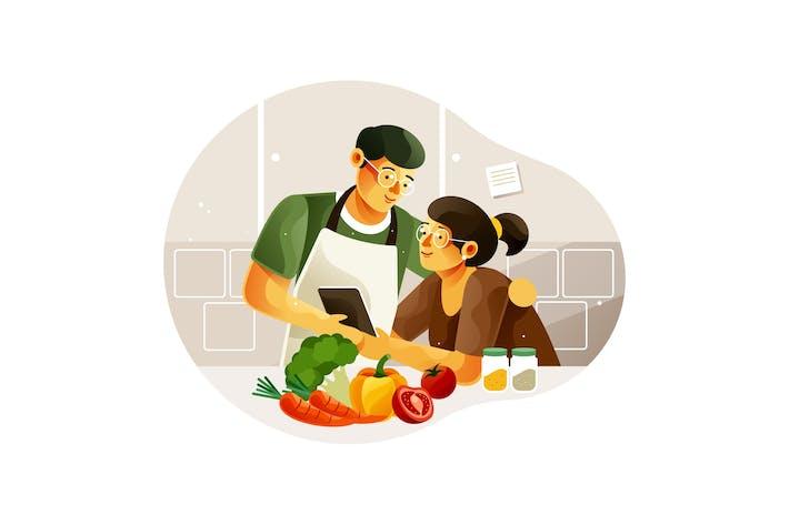 Thumbnail for Paare bereiten Essen zu Hause