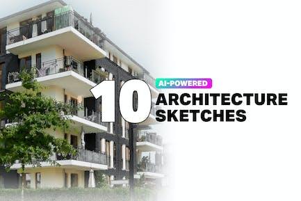10 AI Architecture Sketch Photoshop Actions