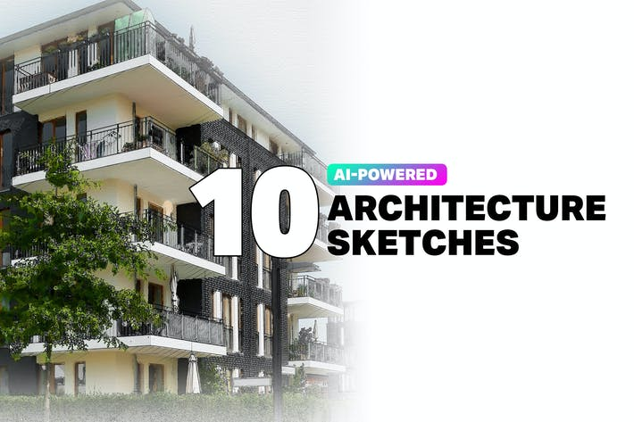 Thumbnail for 10 Acciones de Sketch de Arquitectura AI en Photoshop
