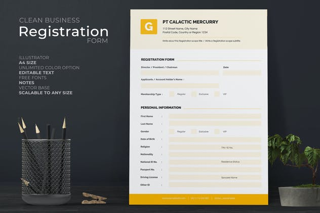 Clean Registration Form with Yellow Accent