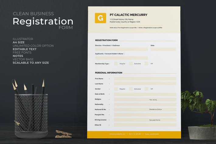 Thumbnail for Clean Registration Form with Yellow Accent