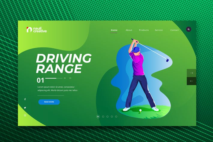 Thumbnail for Golf Sports Web PSD and AI Vector Template